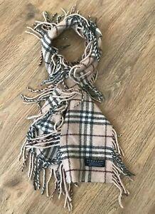 Burberry rare nova check beige merino angora cashmere blend scarf 130cm/15cm