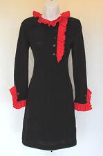 VINTAGE 1970s MADY GERRARD DESIGNER KNIT DRESS BLACK RED RUFFLE TRIM BLEND?