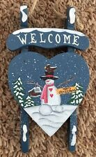 """Wood 4X7"""" Snowman Sign on Sled: Welcome Figurine Ornament"""