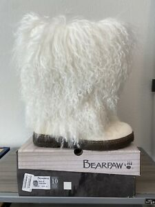 BEARPAW Boetis II White Mongolian Wool Sheepskin Curly Lamb Fur Boots Size 10