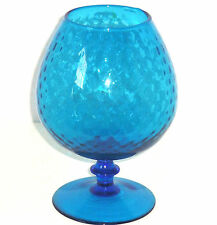Blue Rose Bowl Footed Stem Vase Globe Optic Dots Art Glass Vintage