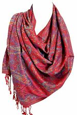Dark Red Soft Luxury Paisley Print Pashmina Feel Wrap Shawl Scarf Stole Hijab