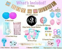 Set of 111Pcs Baby Gender Reveal Party Supplies Baby Boy Baby Girl Baby Shower