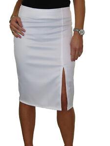 Ladies Front Side Split Midi Stretch Satin Look Pencil Skirt White NEW 6-18