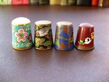 Four Vintage Collectable Thimbles - Two Cloisonne, 1 Painted Brass, 1 Porcelain