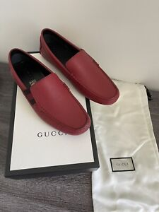 GUCCI SHOES MENS STRIPE DRIVER LOAFERS MOCCASINS SIGNATURE RED LEATHER