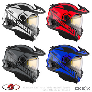 New CKX Mission AMS Snowmobile Helmet W/ Electric Shield SPACE White/Red