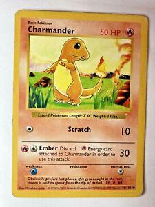 Charmander 46/102 Shadowless Pokemon Card Base Set WOTC Pokemon PL