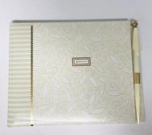 "Hallmark ""Guests"" Wedding Guest Book Cream Embossed"