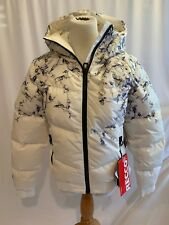 Helly Hansen Quilted Down Jacket Winter Ski Size Small White Print