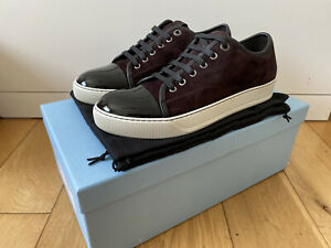 Lanvin DBB1 Suede & Patent Leather Trainers Sneakers Bordeaux UK 6.5 RRP £325