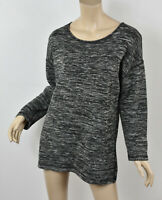 J. CREW Heather Gray & Black JASPE TUNIC Exposed Back-Zip Wool Blend Sweater M
