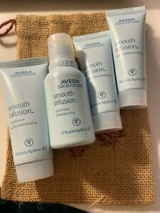 AVEDA 4 travel size Smooth Infusion GIFT PACK shampoo conditioner prep BAG