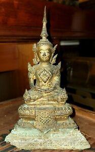 Antique 19th century Thai Seated Gilt Bronze Buddha