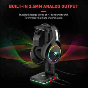 Havit RGB Stand Headphones Holder With 3.5 mm AUX and 2 USB Ports, Gaming Stand