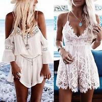 Women Summer Playsuit Beach Strappy Mini Jumpsuit Romper Boho Shorts Lace Dress