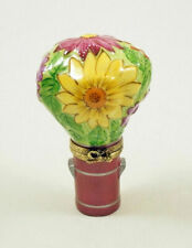 New Beautiful French Limoges Trinket Box Colorful Floral Bouquet In A Vase