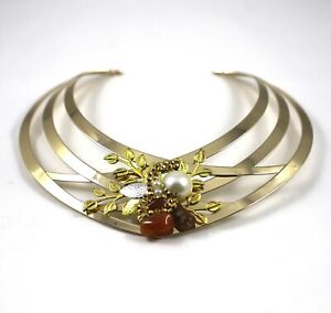 Gold Choker Necklace Brown Agate Stones by Patricia Adelson