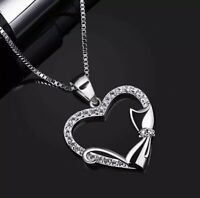 "STERLING SILVER Heart & Cat Pendant Necklace 18"" Chain New Boxed B.CATCHER S925"