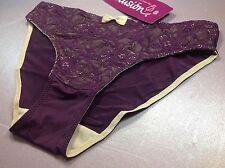 Women Panties,Bikinis ILUSION Sz. XL Purple Double FrontProtect Floral W/fishnet