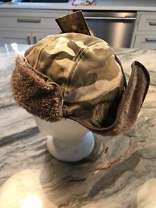 1856 Aviator Brown Camoflauge Warm Hat W/ Earflaps NWT Russian Style NEW