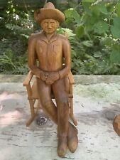 Folk Art Carved Wooden Old Man on Rocker Carving