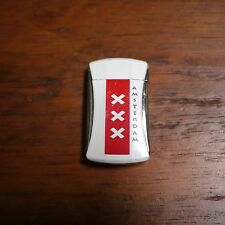Amsterdam XXX White Red Metal Windproof Refillable Butane Gas Cigarette Lighter