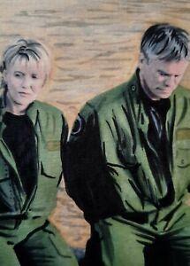 Original Jack O'Neill & Samantha Carter Stargate Aceo sketch card drawing