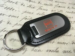 SEAT BLACK LEATHER KEY RING FOB ETCHED AND INFILLED LEON IBIZA FR ALECA