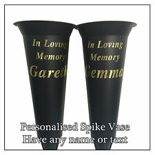 Black Memorial Spike Vase, Personalised Flower Pot, Gold Text of you choice Rip