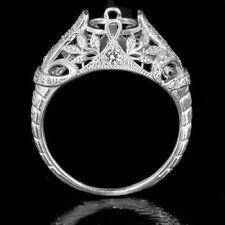 VINTAGE ENGAGEMENT FLORAL SEMI MOUNT ROUND DIAMOND SETTING RING ART DECO 14K WG