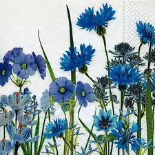 4 x Single Paper Table Napkin/Decoupage/Decoupatch/Scrapbook/Blue Meadow Flowers