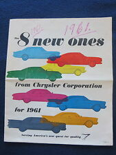 CHRYSLER CORP 1961 Brochure 16 Pgs Color Newsprint Edition 8 New Ones 11x13
