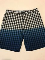 Men's TOMMY HILFIGER Casual Shorts, Blue White, size 34, Custom Fit Plaid