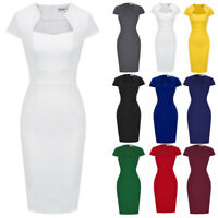 Dress Evening Pinup Pencil Retro Housewife Vintage Party Stretchy Work Bodycon