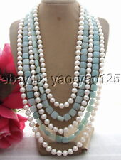 R092605 5Strds 9mm Pearl&Amazonite Necklace