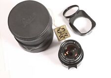 LEICA 50mm f/2 SUMMICRON-M Lens Made in Germany w/ Filter Hood & Bag Near Mint