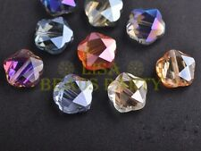 10pcs 14mm Small Flower Faceted Crystal Glass Loose Beads Mixed Colors
