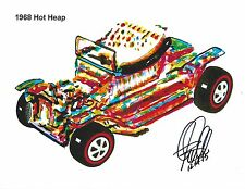 Hot Wheels 1968 Hot Heap Redline Car Racing Poster Print Wall Art 8.5x11