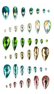 Faceted AB Clear Tear Drop Flat Back Face Body Gems Festival Jewel Make up Craft