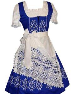 Sz 2 XS German Dirndl Women Dress Blue Waitress Long Oktoberfest EMBROIDERED 3pc
