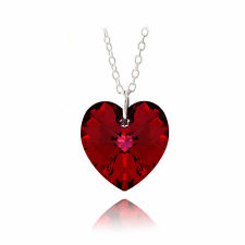 UK SELLER Sterling Silver Heart Austrian Crystal ROMANTIC RED Pendant& Necklace