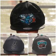 Mitchell Ness NBA Spurs Hornets Grizzlies Fitted Hat ZipBack Snapback Black Gray