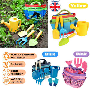6PCS Kids Children Gardening Tools Set Wooden Planting Tools Gloves with Bag UK