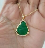 14K Gold Luck Green Jade Cz Buddha Charm Pendant Chain Necklace