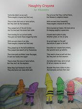 Naughty Crayons Poster Sign Children Kid Poem Drawing School Art Kindergarten