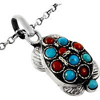 Island Fantasy! Coral, Turquoise 925 Sterling Silver Pendant