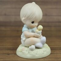 Precious Moments I Believe In Miracles Figurine Baby Boy Holding Chick 1996