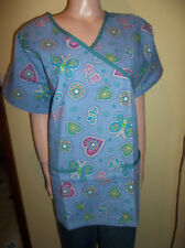RMF SCRUBS HEART AND BUTTERFLY SCRUB TOP VALENTINES XL NEW