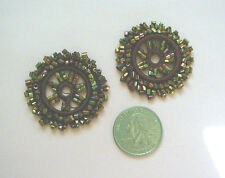 2 IRIDESCENT BRONZE BURGUNDY GLASS BEAD ANTIQUE CIRCLE APPLIQUES SEW-ONS